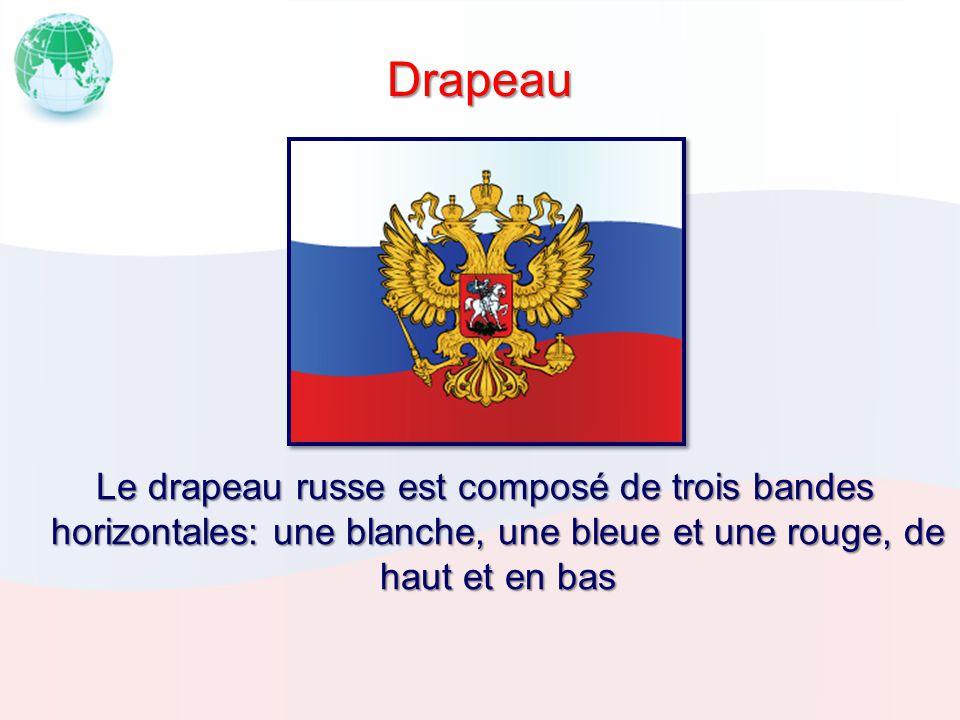 Drapeau Le drapeau russe est composé de trois bandes horizontales: une blanche, une bleue et une rouge, de haut et en bas.