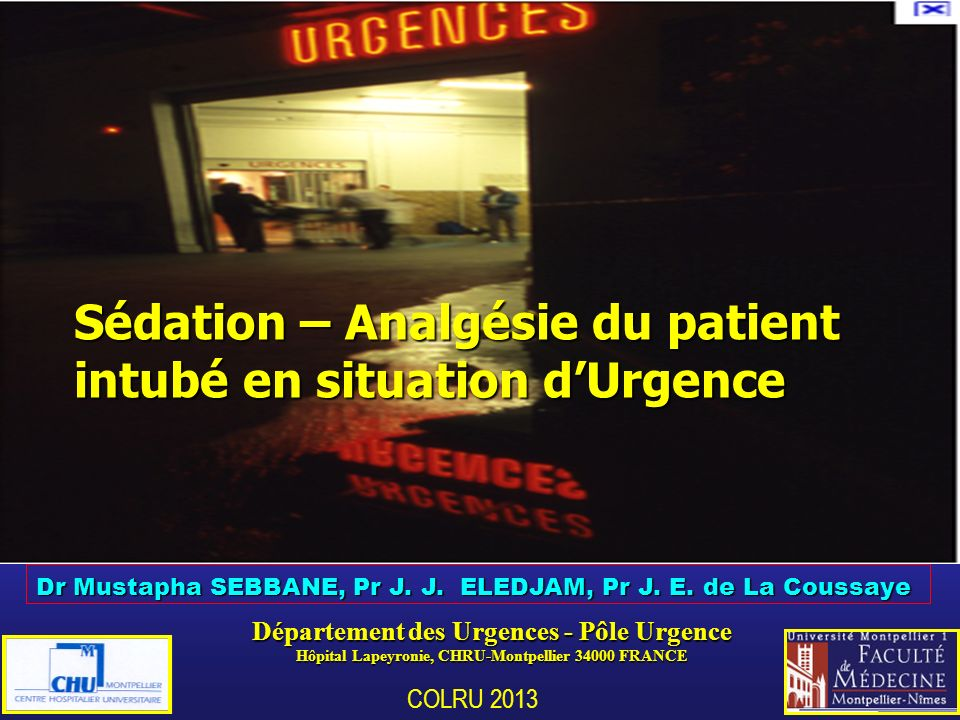 Sédation – Analgésie du patient intubé en situation d'Urgence