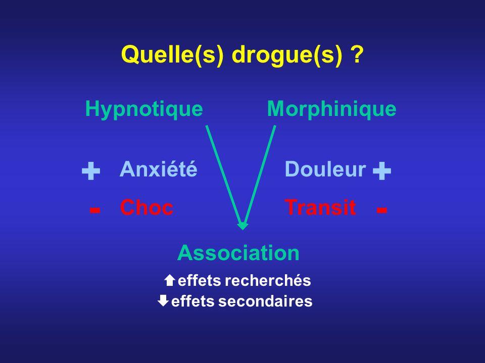 + + - - Quelle(s) drogue(s) Hypnotique Morphinique Anxiété Douleur