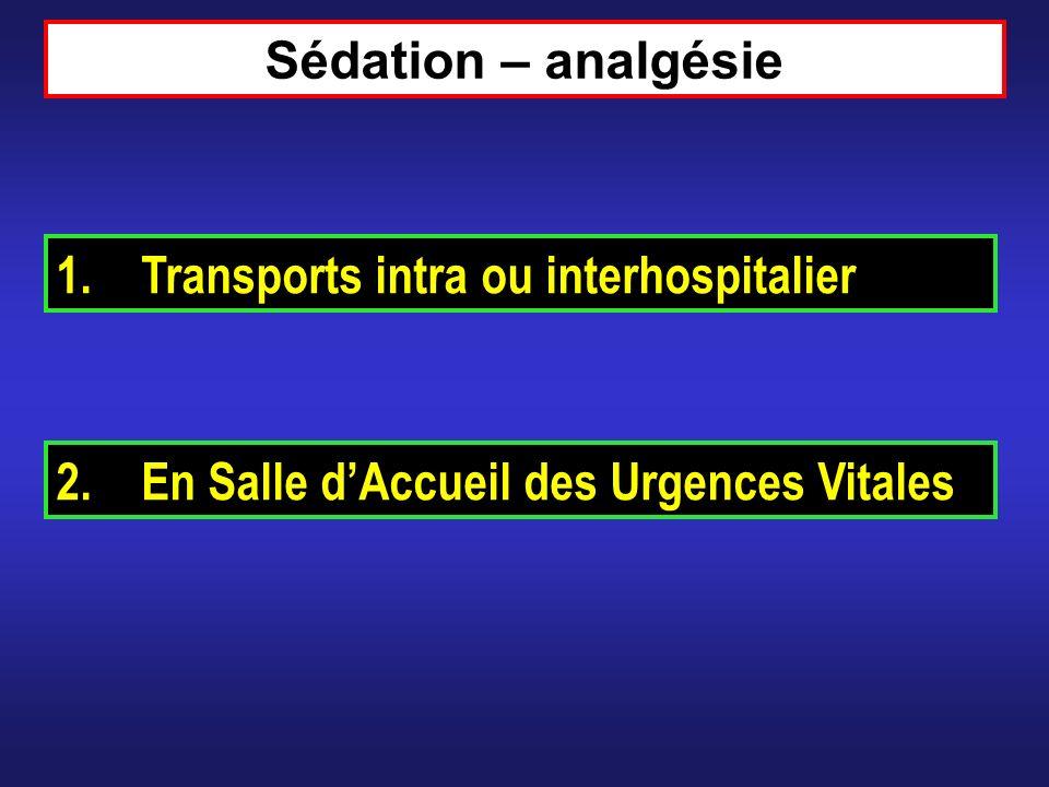 Sédation – analgésie Transports intra ou interhospitalier En Salle d'Accueil des Urgences Vitales