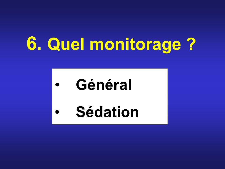 6. Quel monitorage Général Sédation