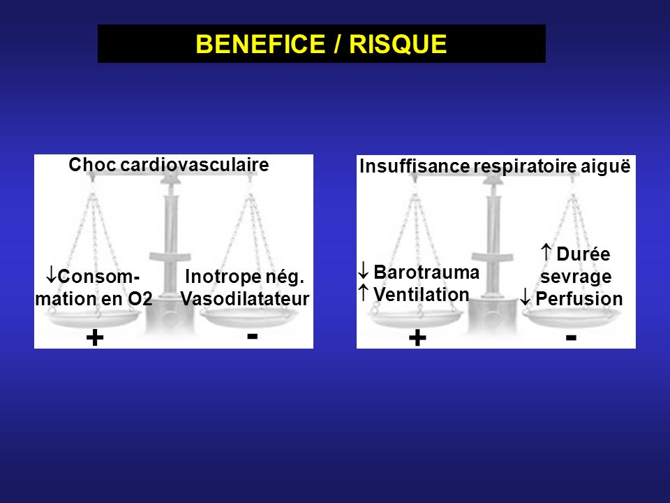 - - + + BENEFICE / RISQUE Choc cardiovasculaire Consom- mation en O2