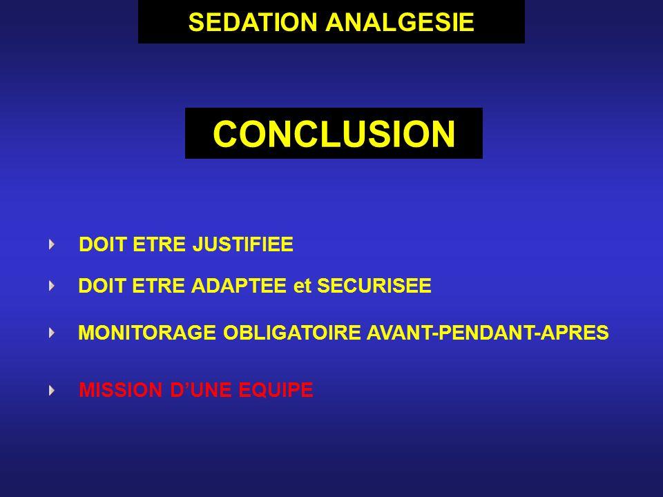 CONCLUSION SEDATION ANALGESIE DOIT ETRE JUSTIFIEE