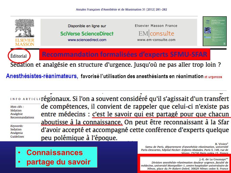 Recommandation formalisées d'experts SFMU-SFAR