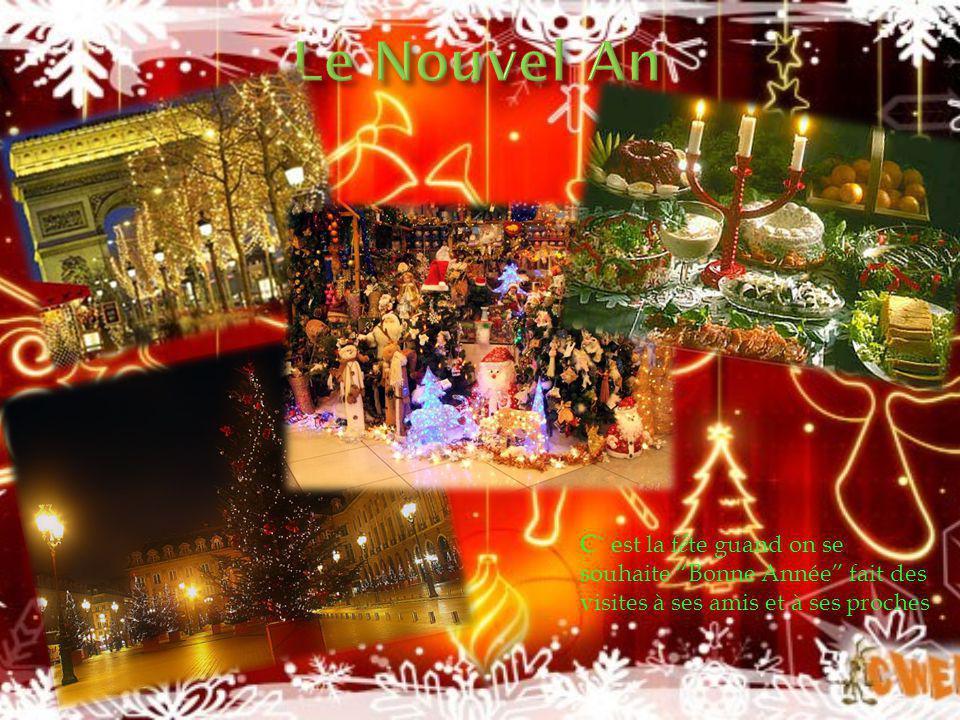 Le Nouvel An C` est la fête guand on se souhaite Bonne Année fait des visites à ses amis et à ses proches.