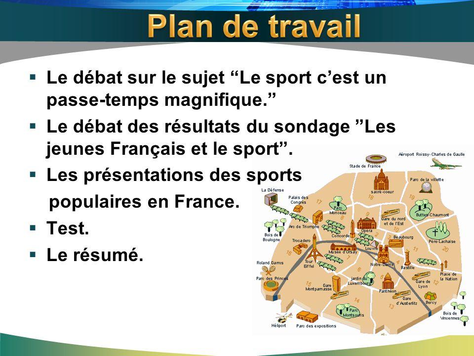 Plan de travail Le débat sur le sujet Le sport c'est un passe-temps magnifique.