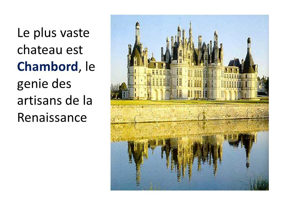 Le plus vaste chateau est Chambord, le genie des artisans de la Renaissance