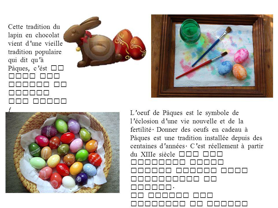 Cette tradition du lapin en chocolat vient d'une vieille tradition populaire qui dit qu'à Pâques, c'ést le tour des lapins de couver les oeufs !