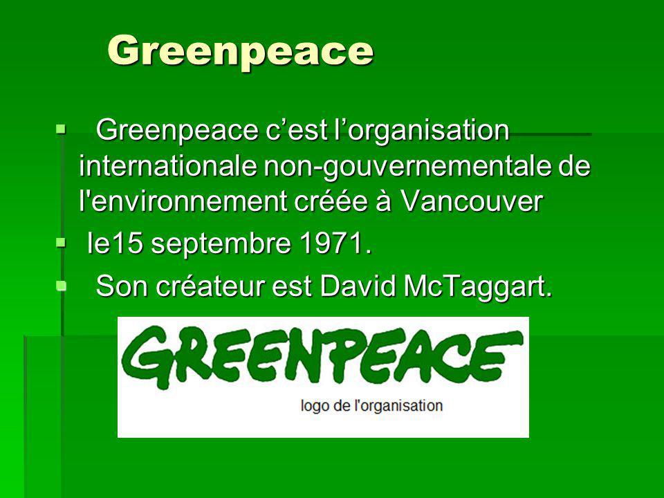 Greenpeace Greenpeace c'est l'organisation internationale non-gouvernementale de l environnement créée à Vancouver.