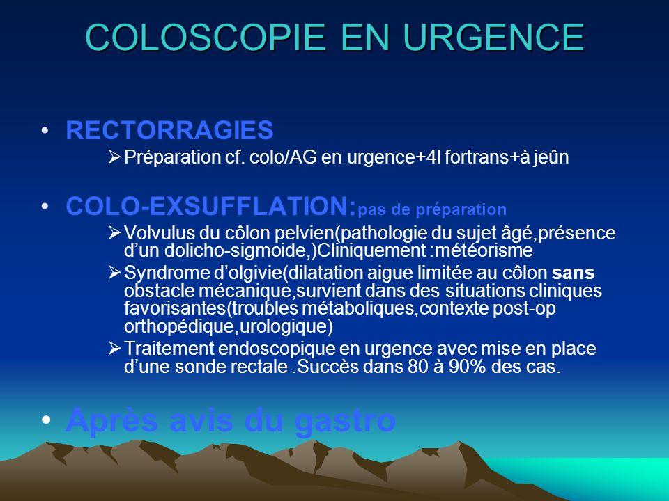 COLOSCOPIE EN URGENCE Après avis du gastro RECTORRAGIES