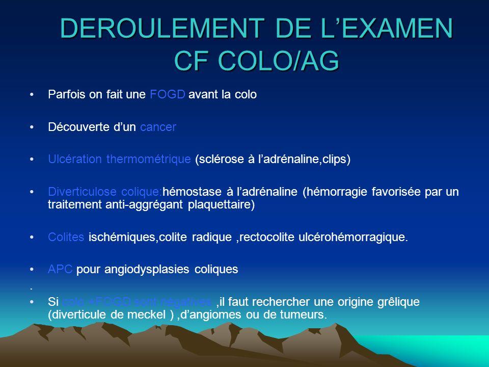 DEROULEMENT DE L'EXAMEN CF COLO/AG
