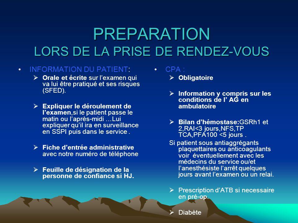 PREPARATION LORS DE LA PRISE DE RENDEZ-VOUS