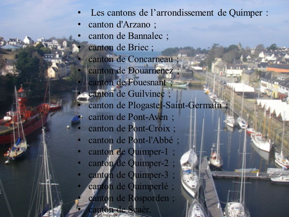 Les cantons de l'arrondissement de Quimper :