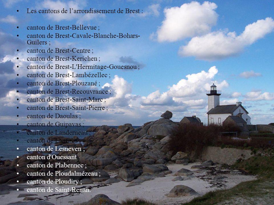 Les cantons de l'arrondissement de Brest :