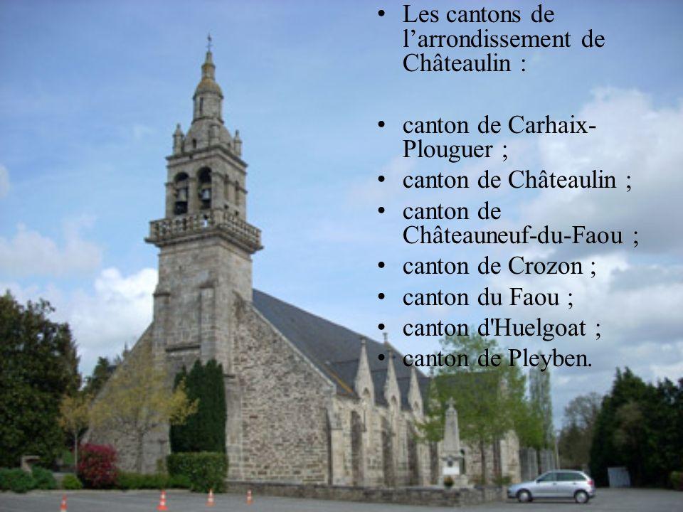 Les cantons de l'arrondissement de Châteaulin :