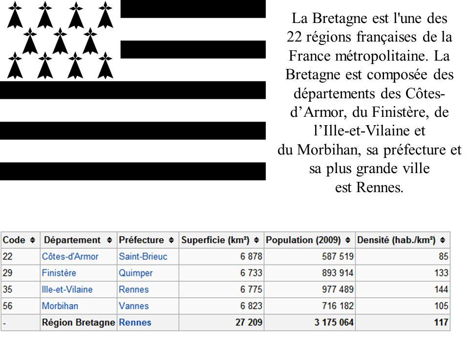 La Bretagne est l une des 22 régions françaises de la France métropolitaine.