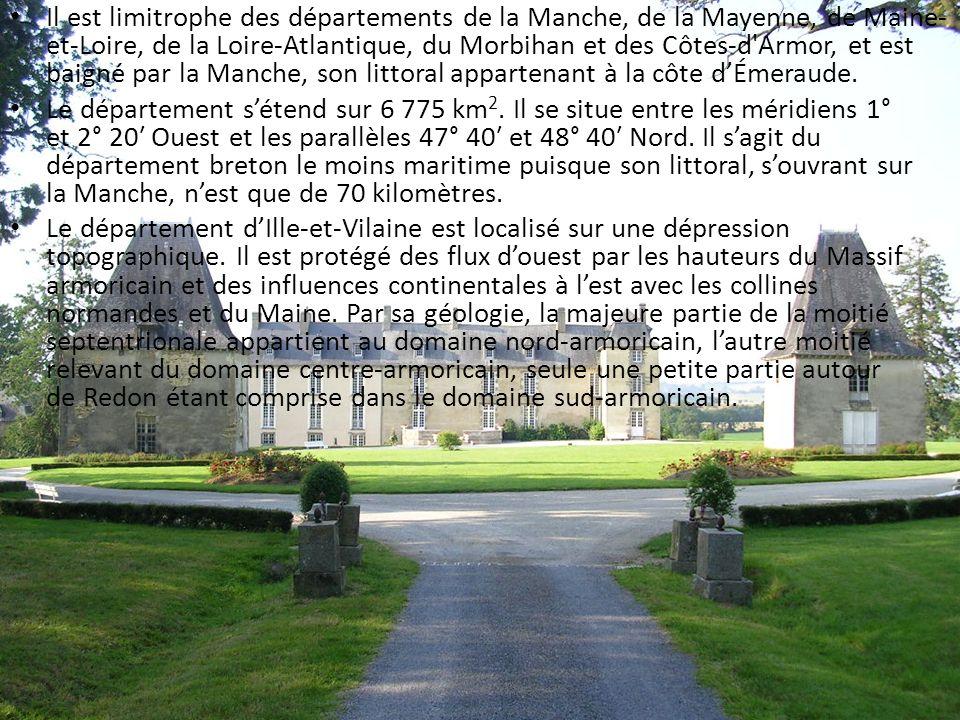 Il est limitrophe des départements de la Manche, de la Mayenne, de Maine-et-Loire, de la Loire-Atlantique, du Morbihan et des Côtes-d Armor, et est baigné par la Manche, son littoral appartenant à la côte d'Émeraude.
