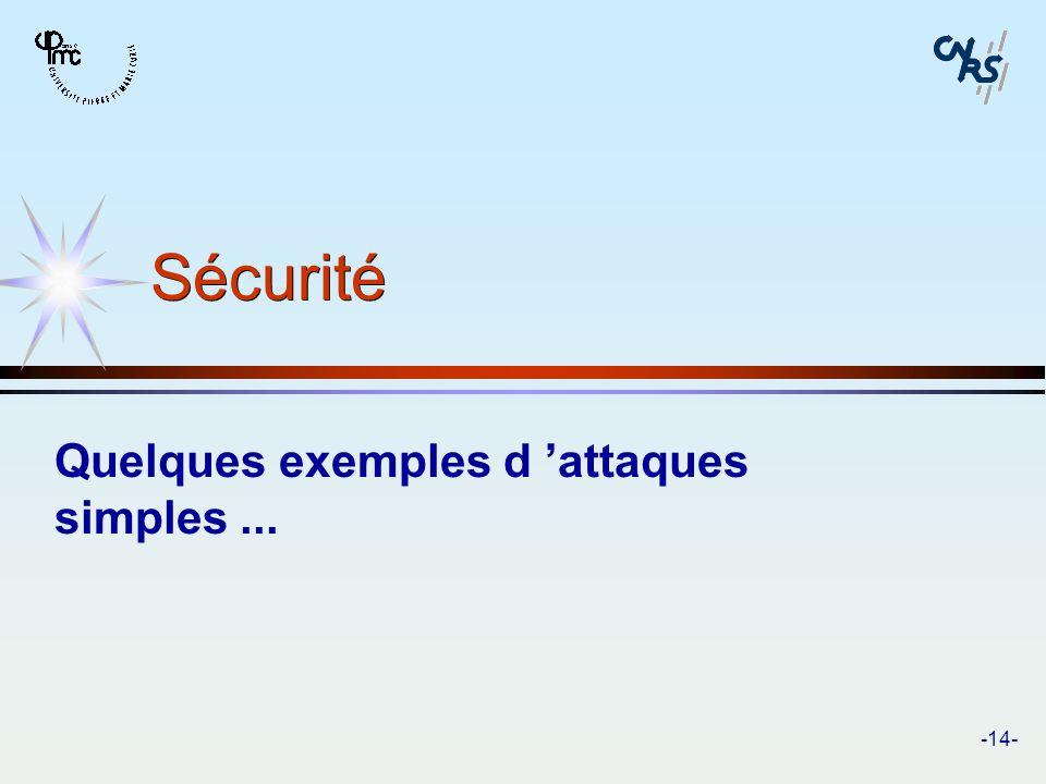 Quelques exemples d 'attaques simples ...