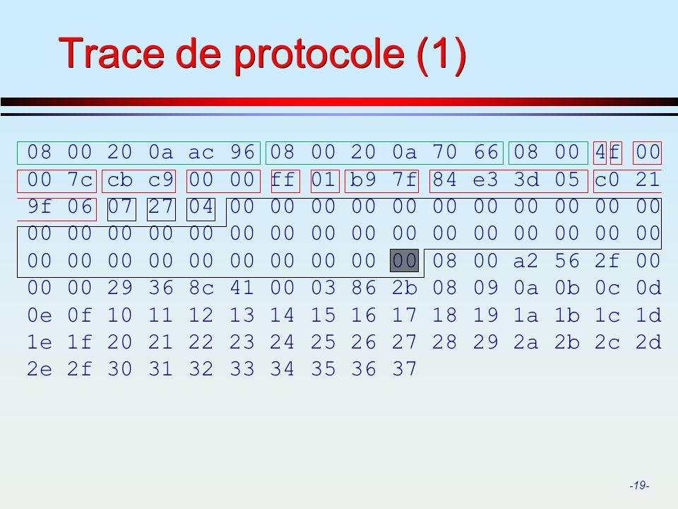 Trace de protocole (1) 08 00 20 0a ac 96 08 00 20 0a 70 66 08 00 4f 00