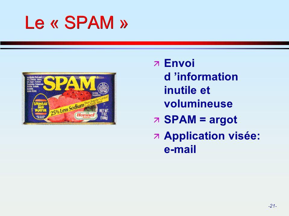 Le « SPAM » Envoi d 'information inutile et volumineuse SPAM = argot