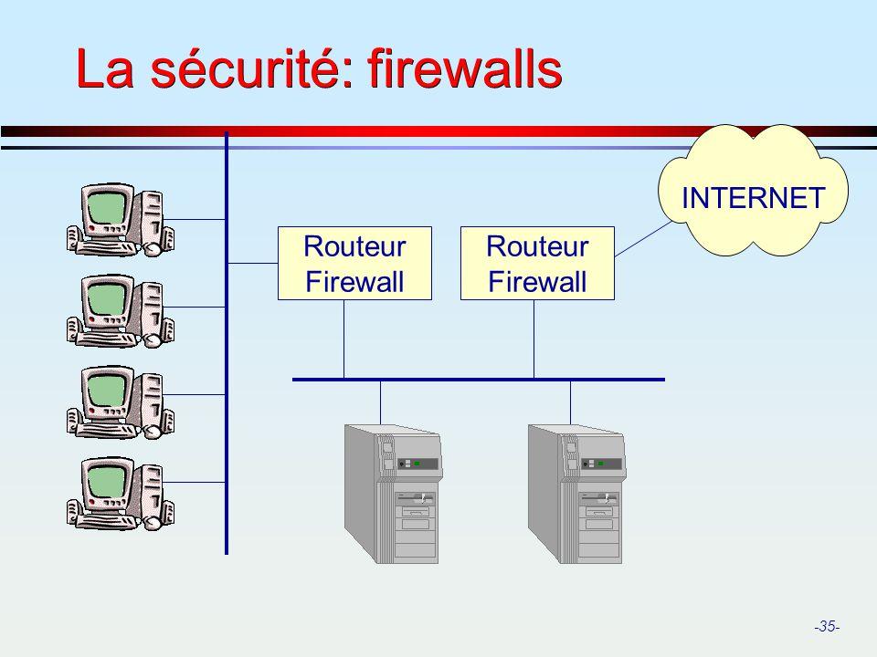 La sécurité: firewalls