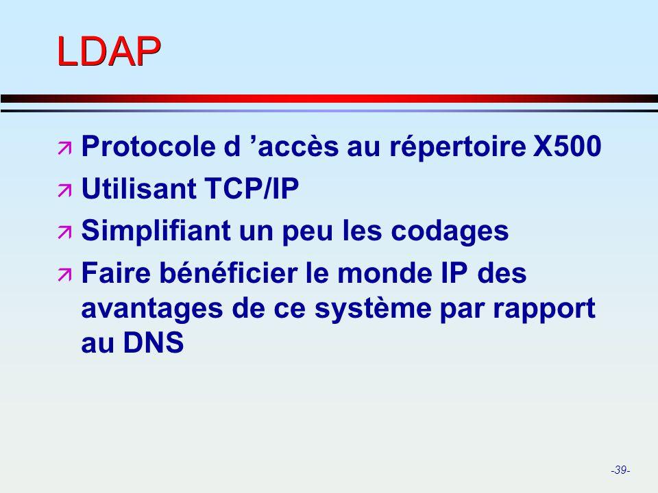 LDAP Protocole d 'accès au répertoire X500 Utilisant TCP/IP