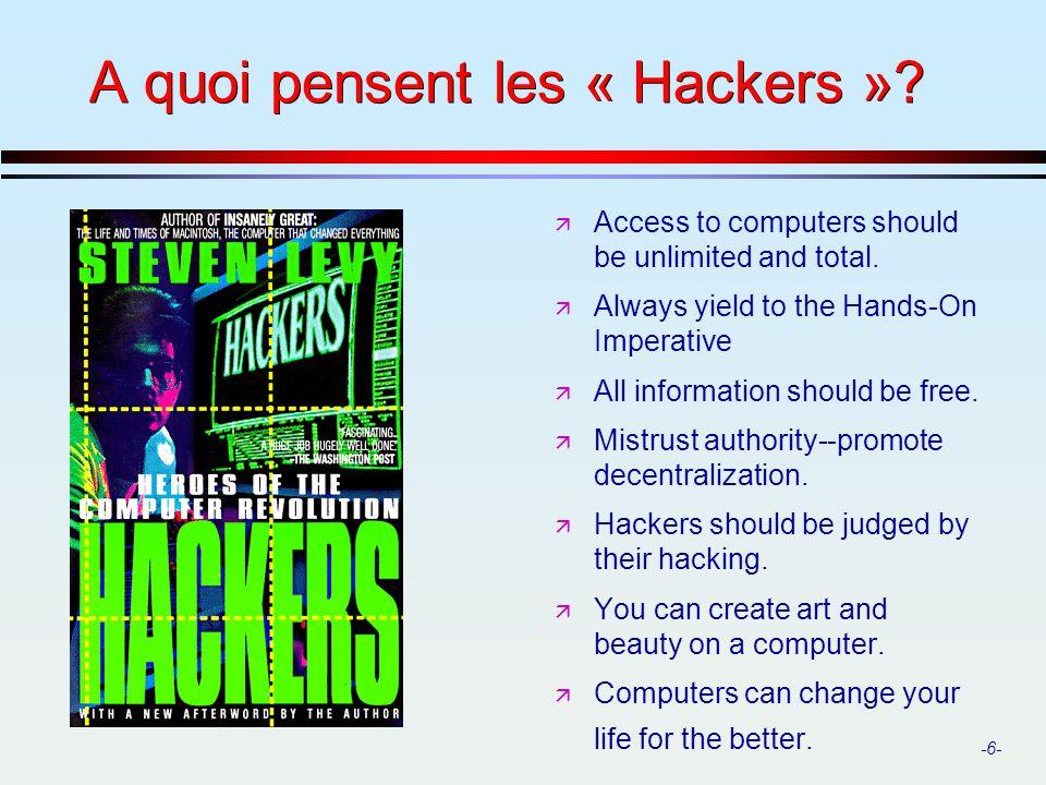 A quoi pensent les « Hackers »