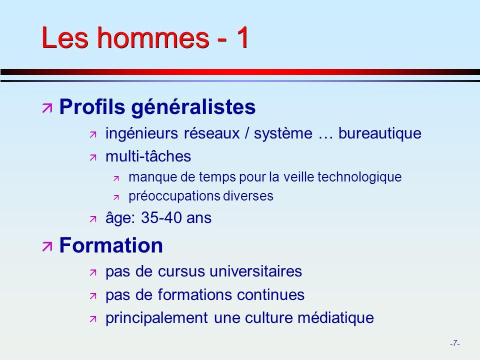 Les hommes - 1 Profils généralistes Formation