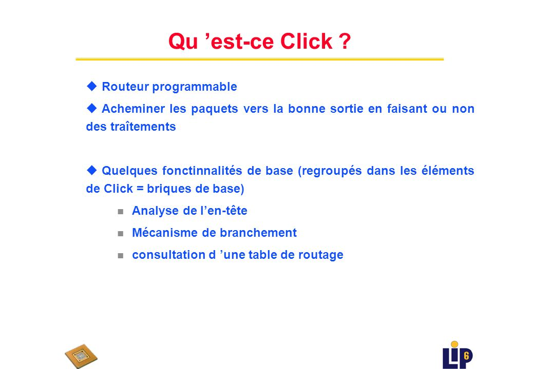 Qu 'est-ce Click Routeur programmable