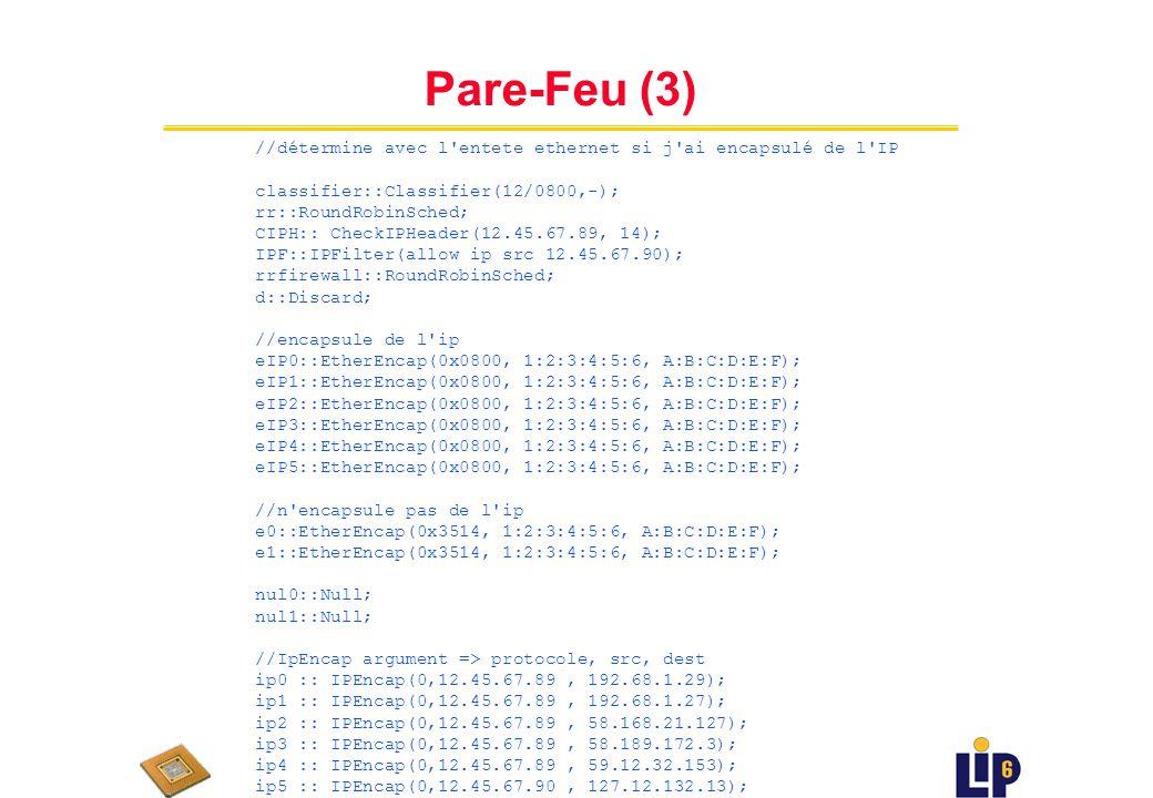 Pare-Feu (3) //détermine avec l entete ethernet si j ai encapsulé de l IP. classifier::Classifier(12/0800,-);