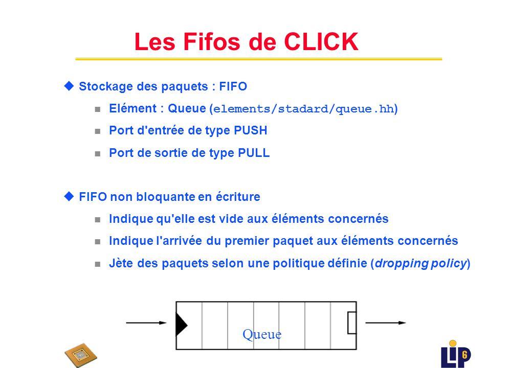 Les Fifos de CLICK Queue Stockage des paquets : FIFO
