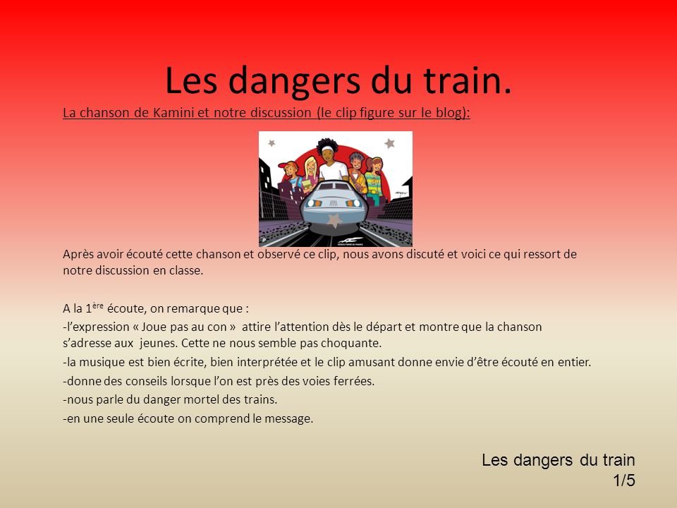 Les dangers du train. Les dangers du train 1/5