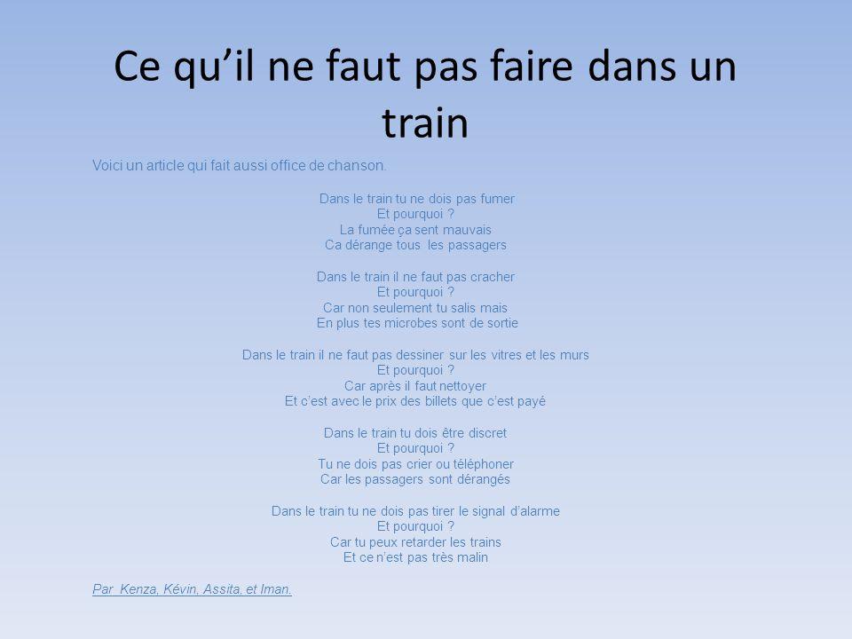 Ce qu'il ne faut pas faire dans un train