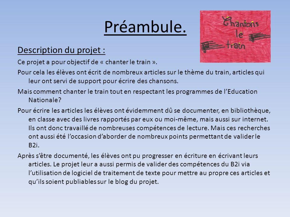 Préambule. Description du projet :