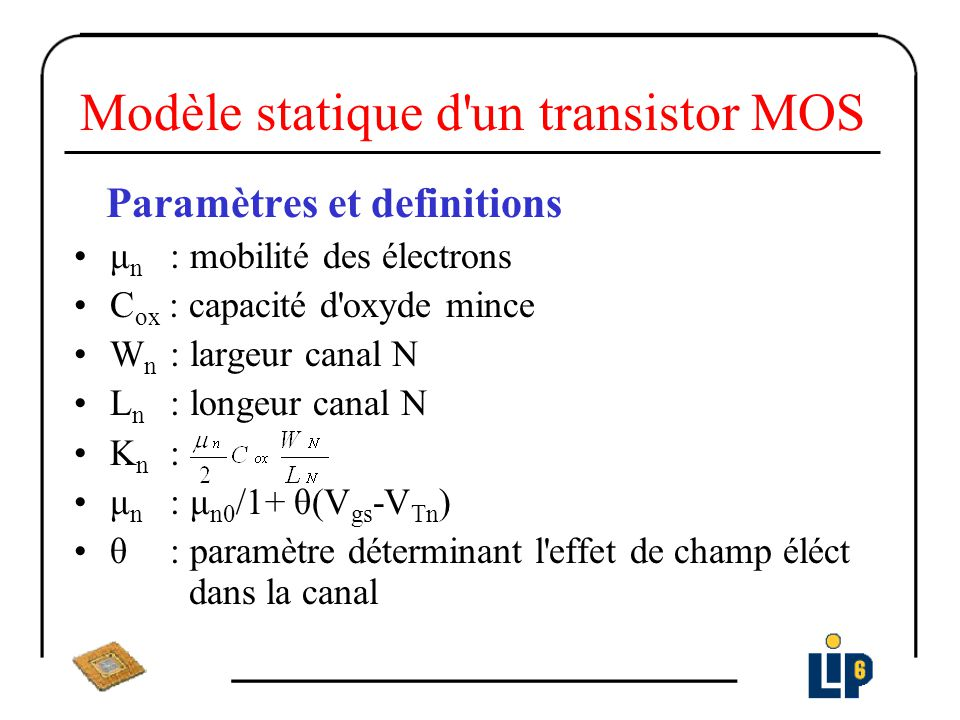 Modèle statique d un transistor MOS