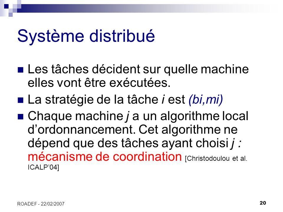 Système distribué Les tâches décident sur quelle machine elles vont être exécutées. La stratégie de la tâche i est (bi,mi)