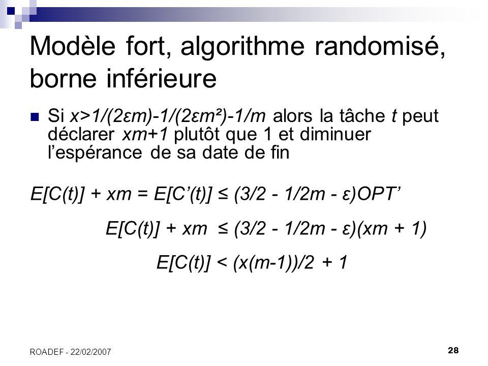 Modèle fort, algorithme randomisé, borne inférieure