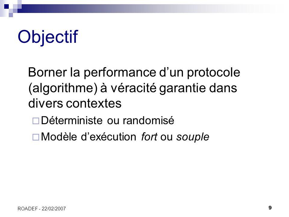Objectif Borner la performance d'un protocole (algorithme) à véracité garantie dans divers contextes.