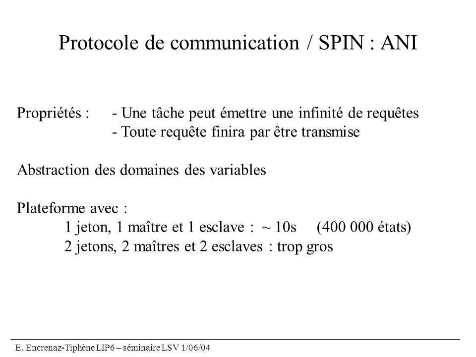 Protocole de communication / SPIN : ANI