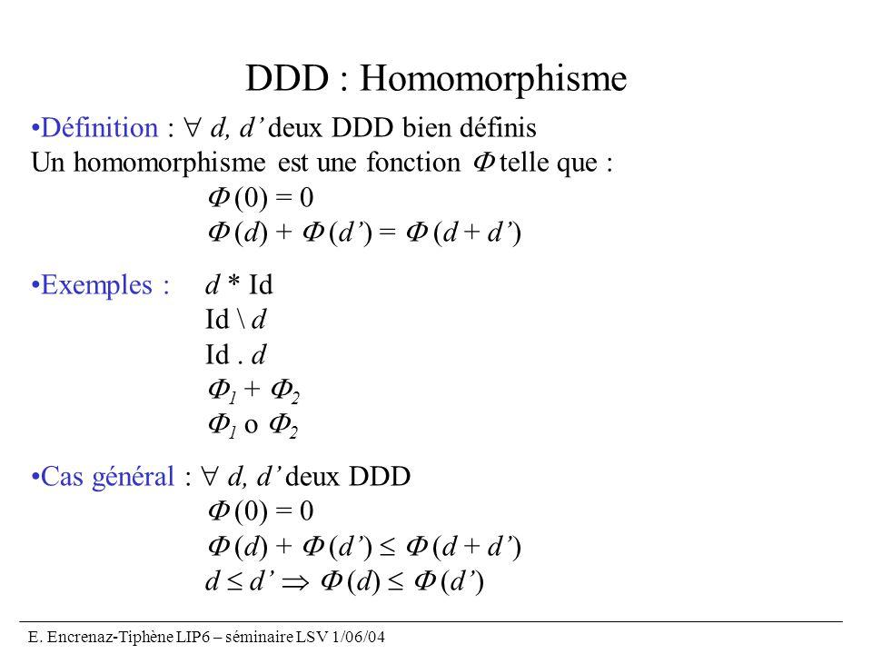 DDD : Homomorphisme Définition :  d, d' deux DDD bien définis