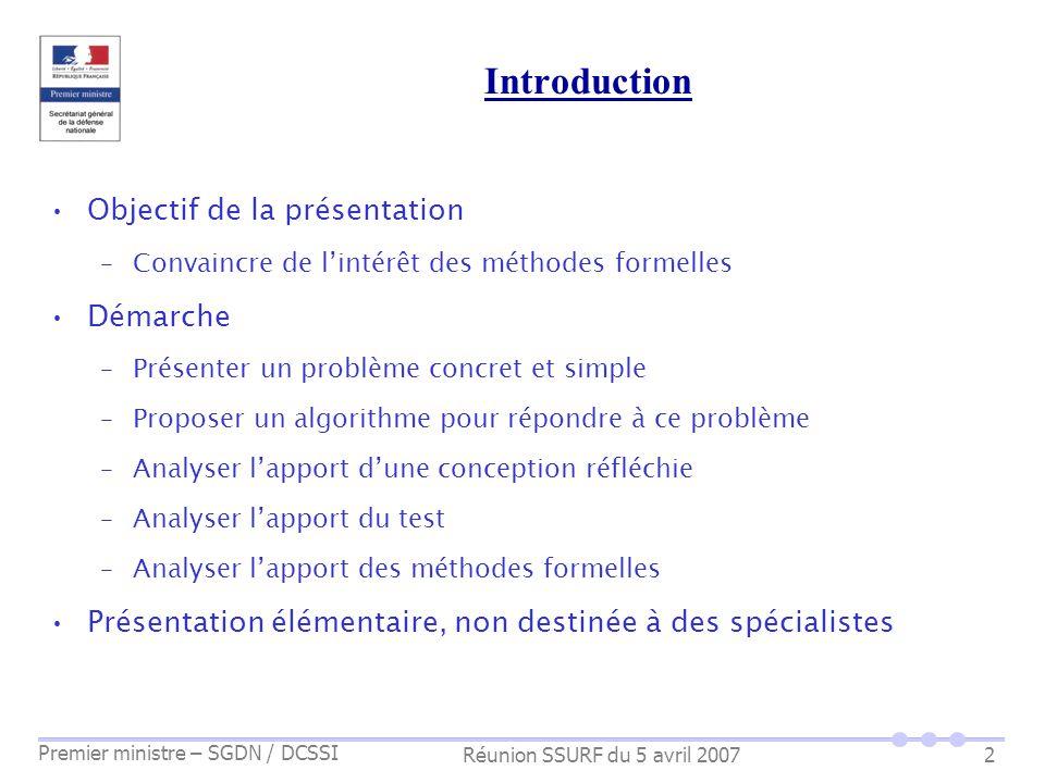 Introduction Objectif de la présentation Démarche