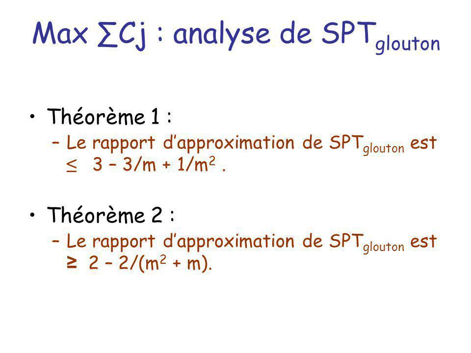 Max ∑Cj : analyse de SPTglouton