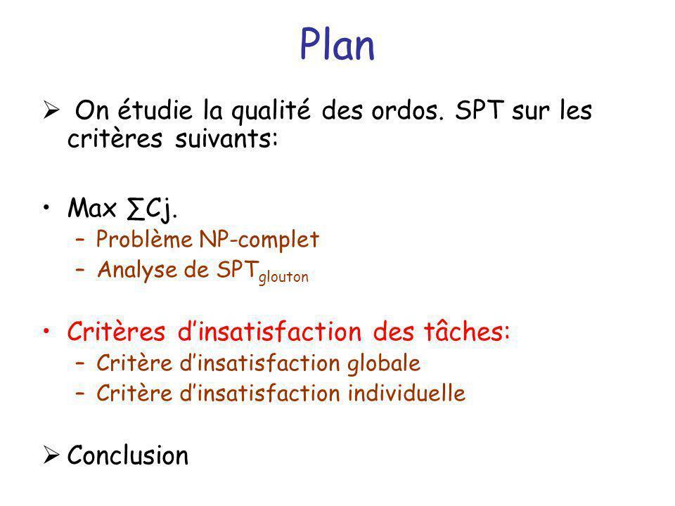 Plan On étudie la qualité des ordos. SPT sur les critères suivants: