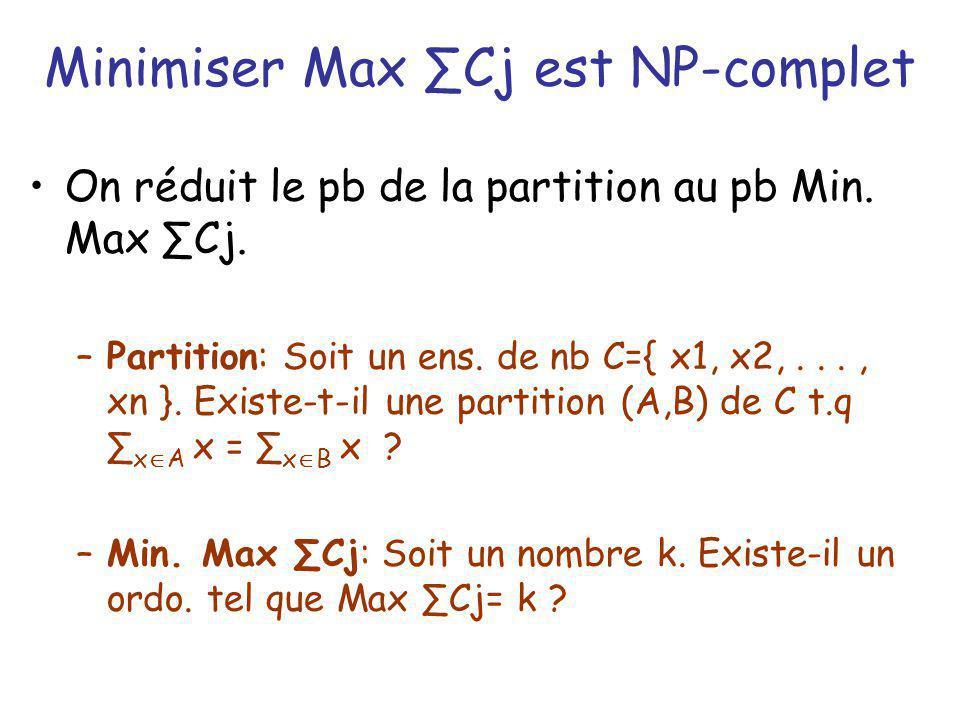 Minimiser Max ∑Cj est NP-complet