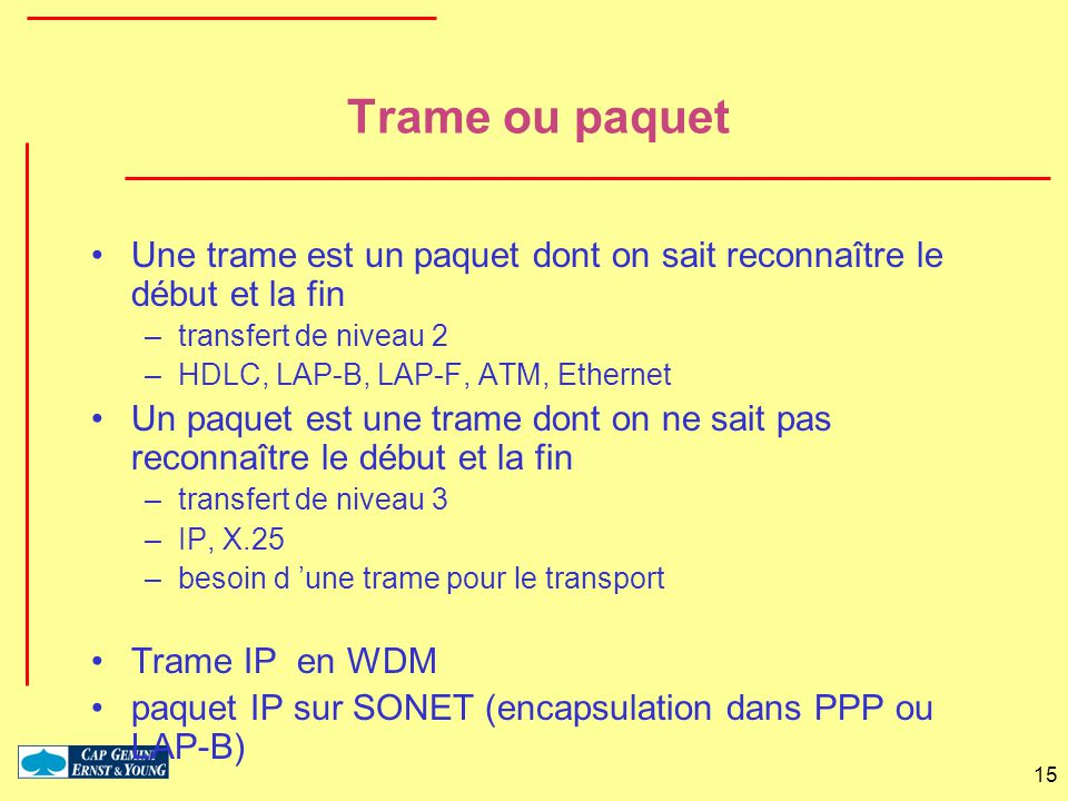 Trame ou paquet Une trame est un paquet dont on sait reconnaître le début et la fin. transfert de niveau 2.