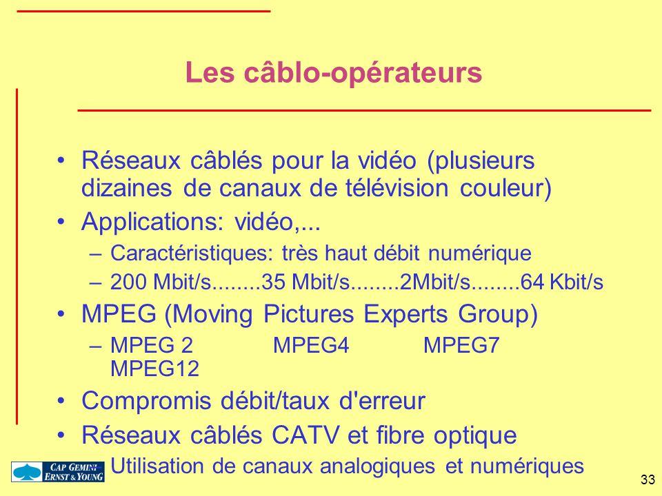 Les câblo-opérateurs Réseaux câblés pour la vidéo (plusieurs dizaines de canaux de télévision couleur)