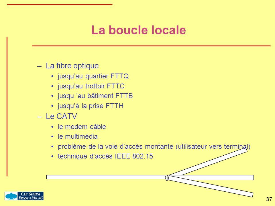 La boucle locale La fibre optique Le CATV jusqu'au quartier FTTQ