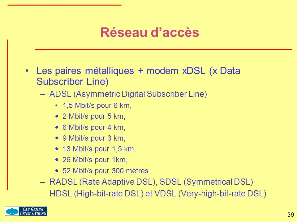 Réseau d'accès Les paires métalliques + modem xDSL (x Data Subscriber Line) ADSL (Asymmetric Digital Subscriber Line)