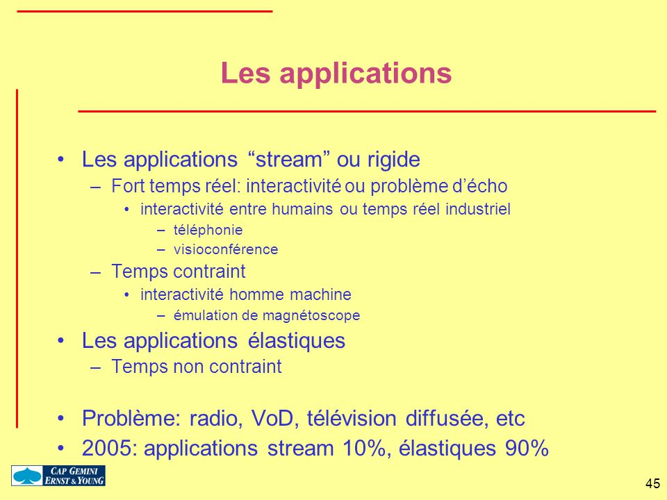 Les applications Les applications stream ou rigide