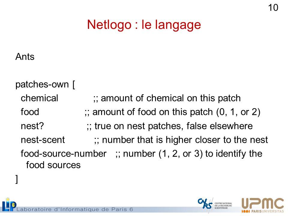 Netlogo : le langage